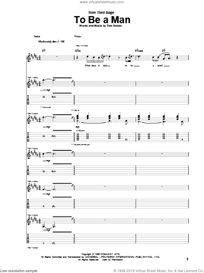 To Be A Man sheet music for guitar (tablature) by Boston, intermediate. Score Image Preview.