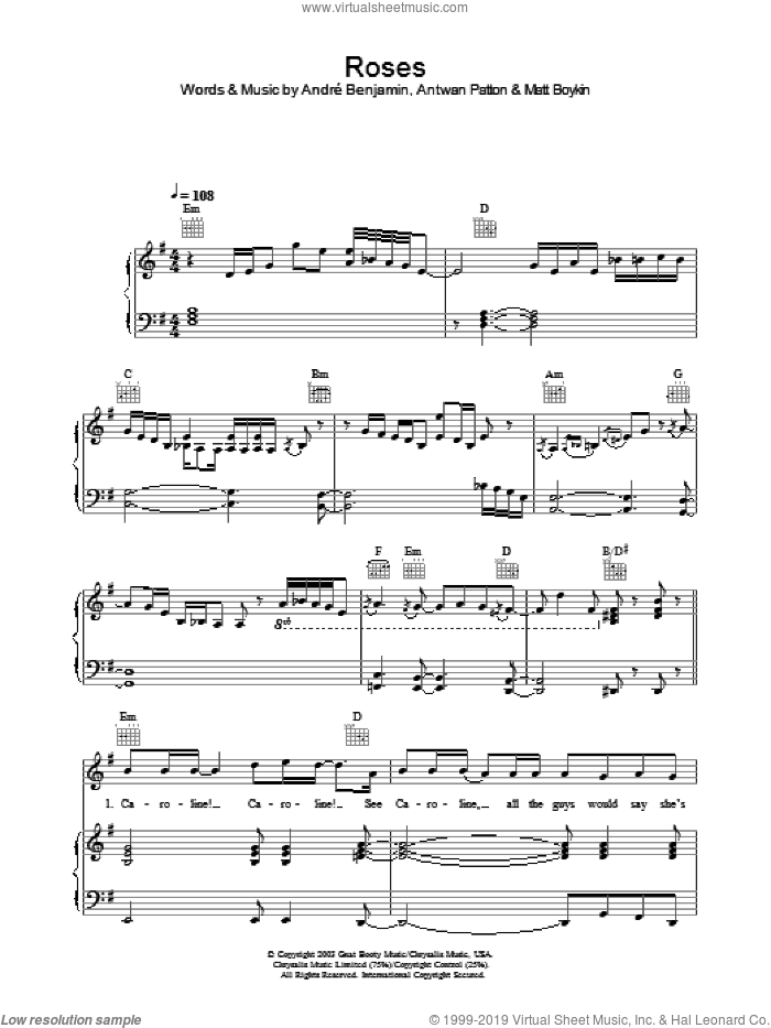 Roses sheet music for voice, piano or guitar by OutKast. Score Image Preview.