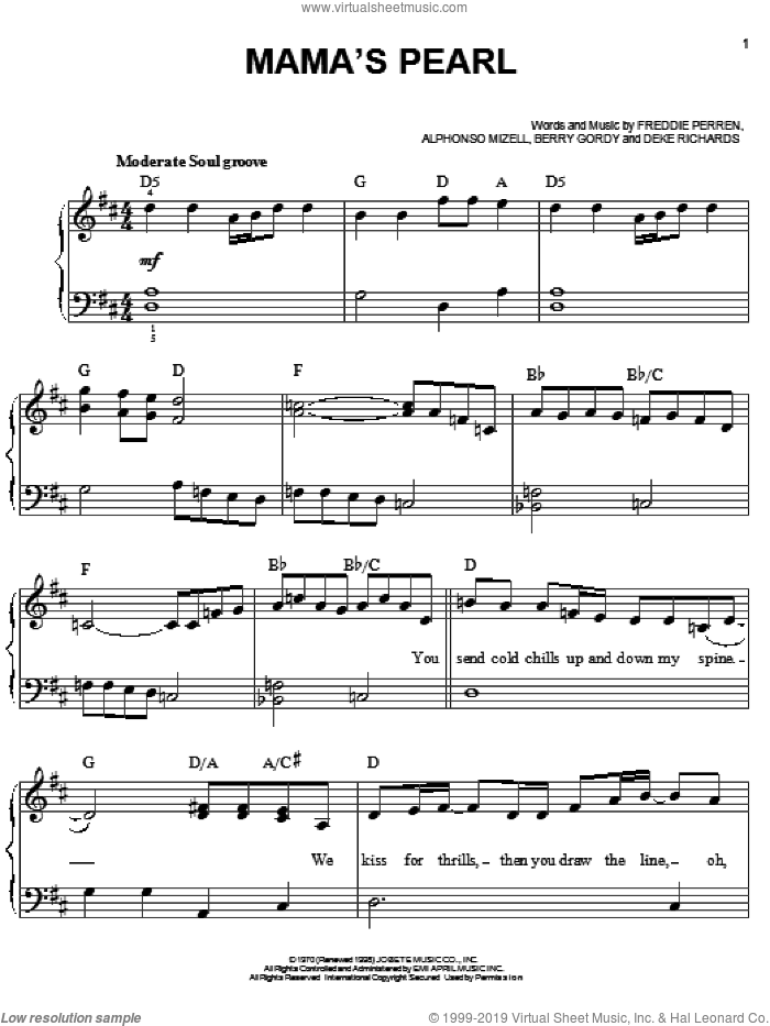 Mama's Pearl sheet music for piano solo by The Jackson 5, Michael Jackson and Berry Gordy. Score Image Preview.