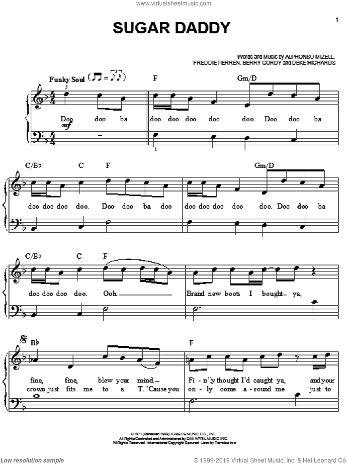 Sugar Daddy sheet music for piano solo by The Jackson 5, Michael Jackson and Berry Gordy, easy piano. Score Image Preview.