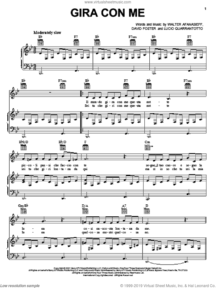 Gira Con Me sheet music for voice, piano or guitar by Walter Afanasieff, Josh Groban, David Foster and Lucio Quarantotto. Score Image Preview.