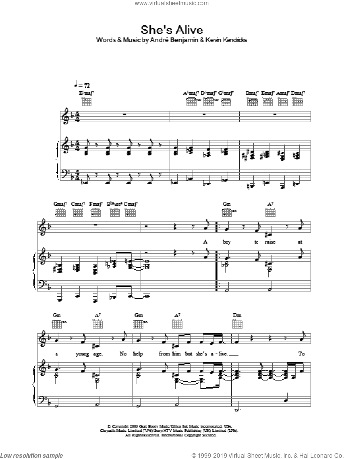She's Alive sheet music for voice, piano or guitar by OutKast, intermediate skill level