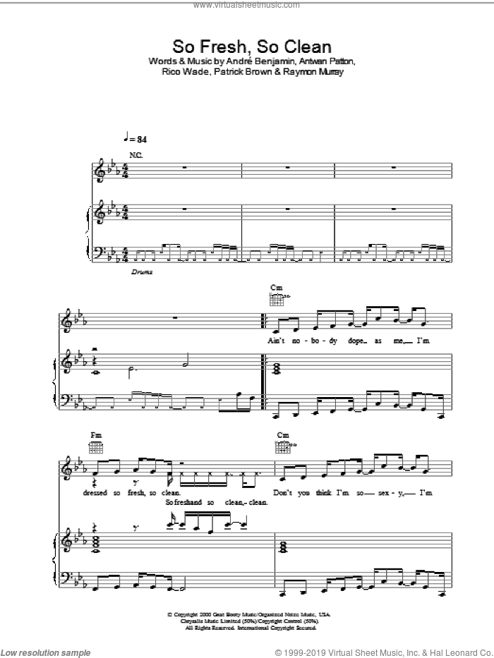 So Fresh, So Clean sheet music for voice, piano or guitar by OutKast