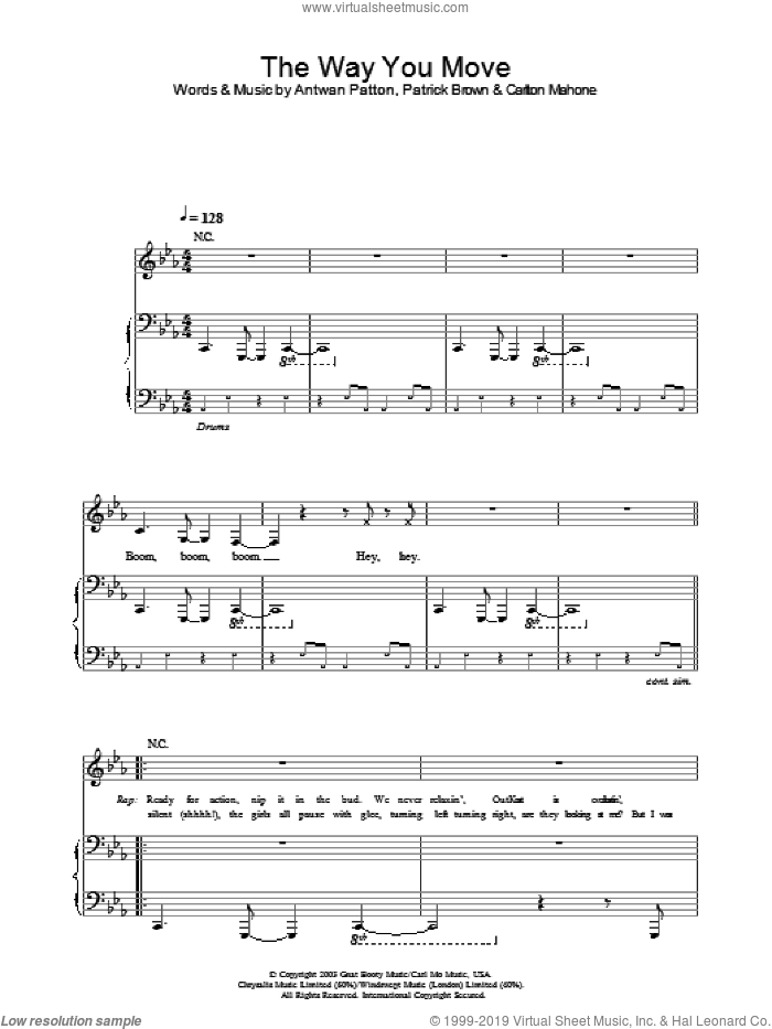The Way You Move sheet music for voice, piano or guitar by OutKast