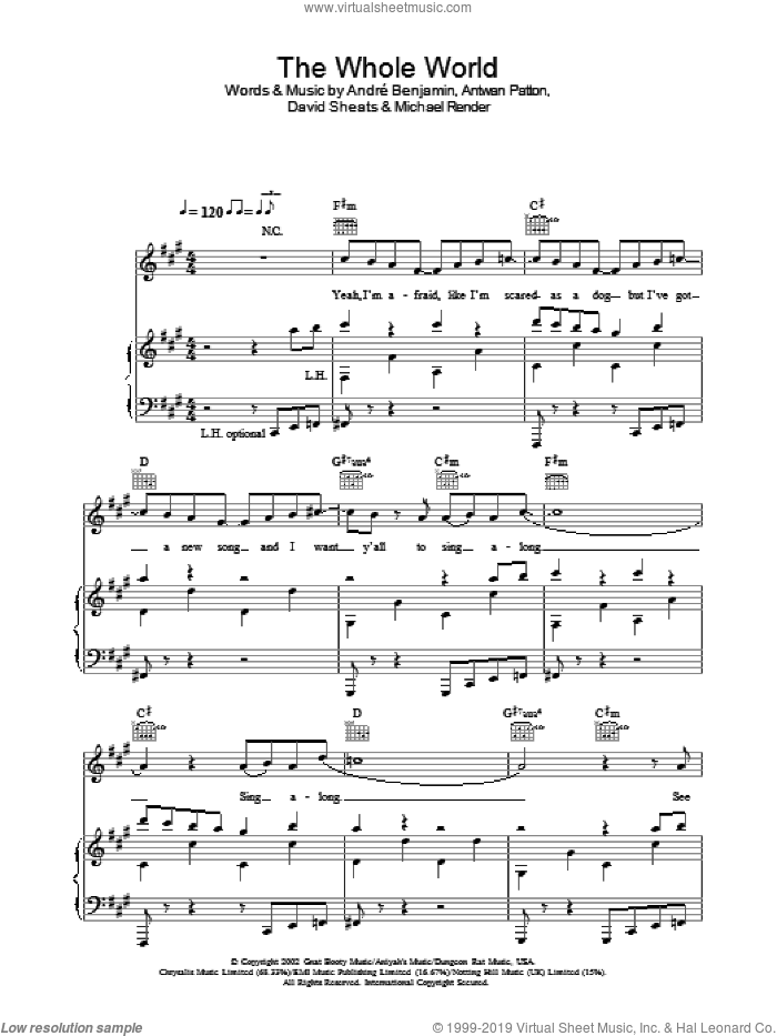 The Whole World sheet music for voice, piano or guitar by OutKast, intermediate. Score Image Preview.