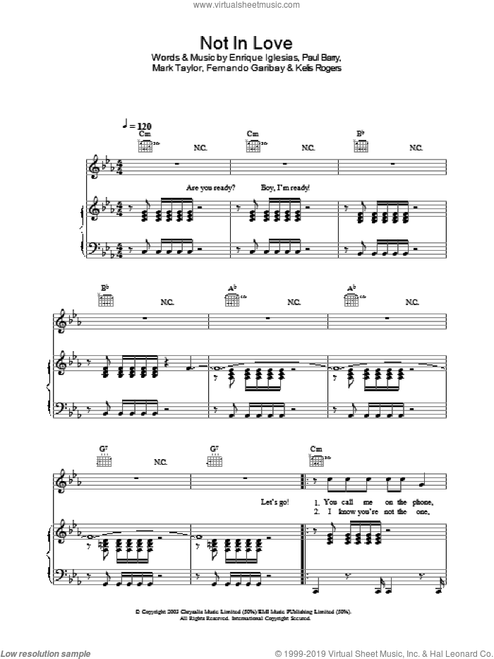 Not In Love sheet music for voice, piano or guitar by Enrique Iglesias, intermediate. Score Image Preview.