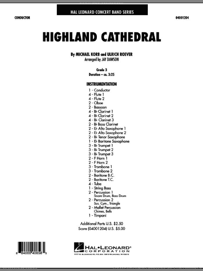 Highland Cathedral (COMPLETE) sheet music for concert band by Michael Korb and Jay Dawson, intermediate concert band. Score Image Preview.