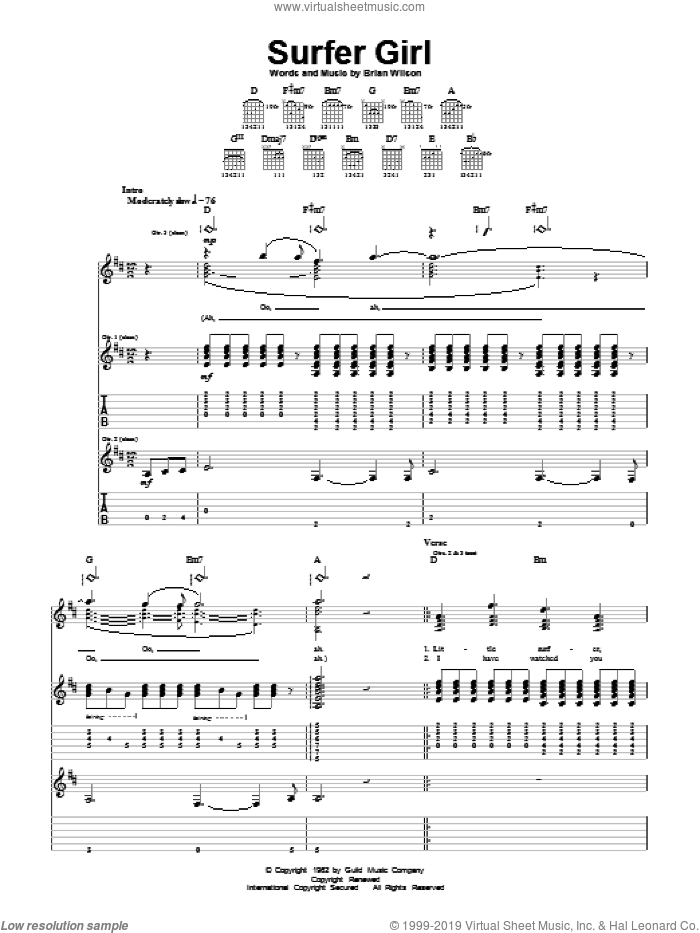 Surfer Girl sheet music for guitar (tablature) by Brian Wilson and The Beach Boys. Score Image Preview.