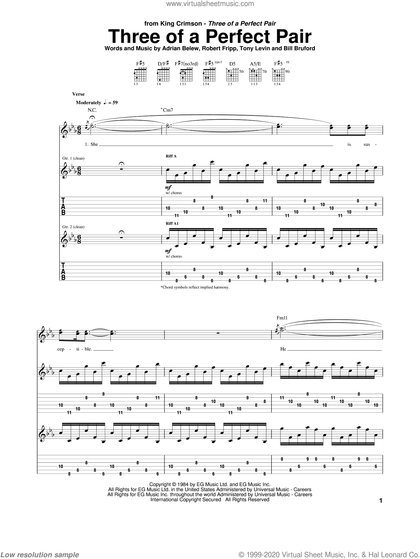 Three Of A Perfect Pair sheet music for guitar (tablature) by Tony Levin, Bill Bruford and Robert Fripp. Score Image Preview.
