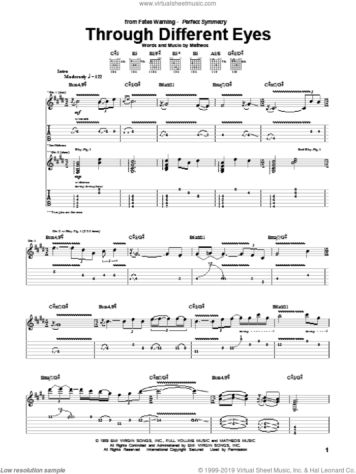 Through Different Eyes sheet music for guitar (tablature) by Fates Warning, intermediate guitar (tablature). Score Image Preview.
