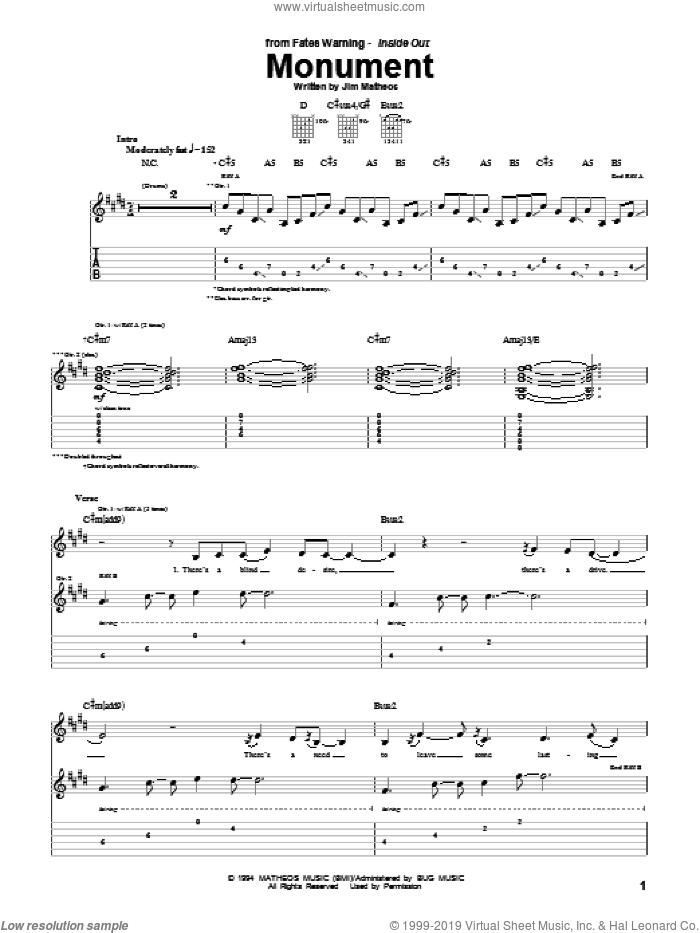 Monument sheet music for guitar (tablature) by Fates Warning and Jim Matheos, intermediate skill level