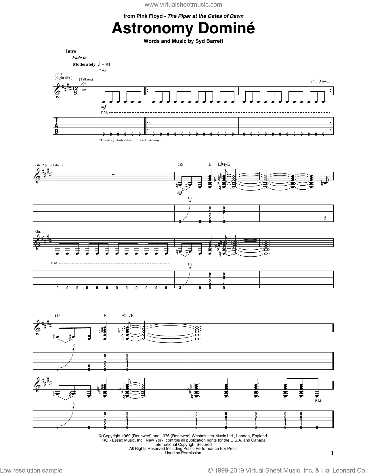Astronomy Domine sheet music for guitar (tablature) by Pink Floyd and Syd Barrett. Score Image Preview.