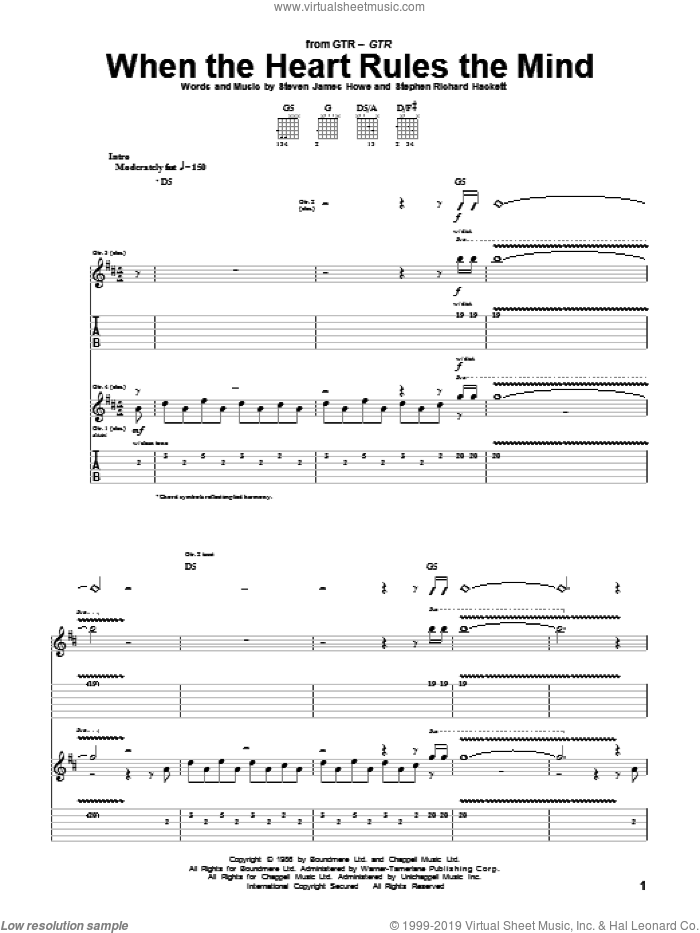 When The Heart Rules The Mind sheet music for guitar (tablature) by Steve Howe