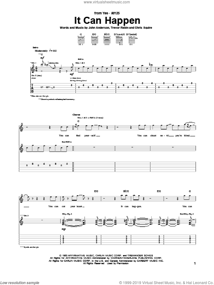 It Can Happen sheet music for guitar (tablature) by Yes, Chris Squire, John Anderson and Trevor Rabin, intermediate skill level