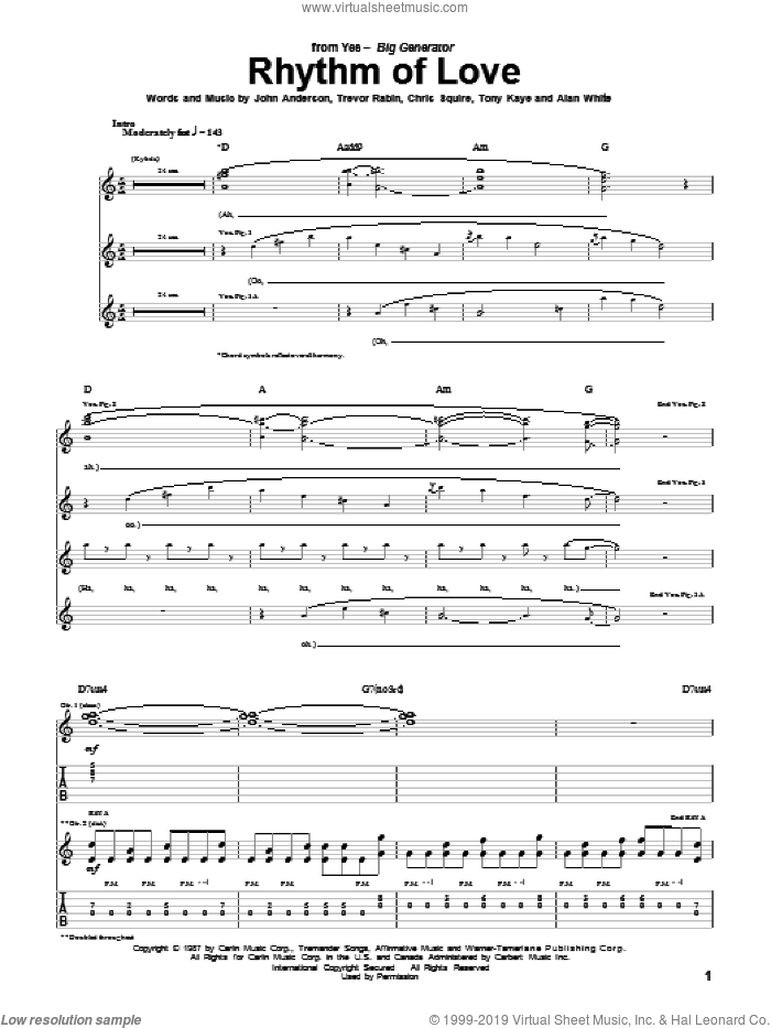 Rhythm Of Love sheet music for guitar (tablature) by Yes, Alan White, Chris Squire, John Anderson, Tony Kaye and Trevor Rabin, intermediate skill level