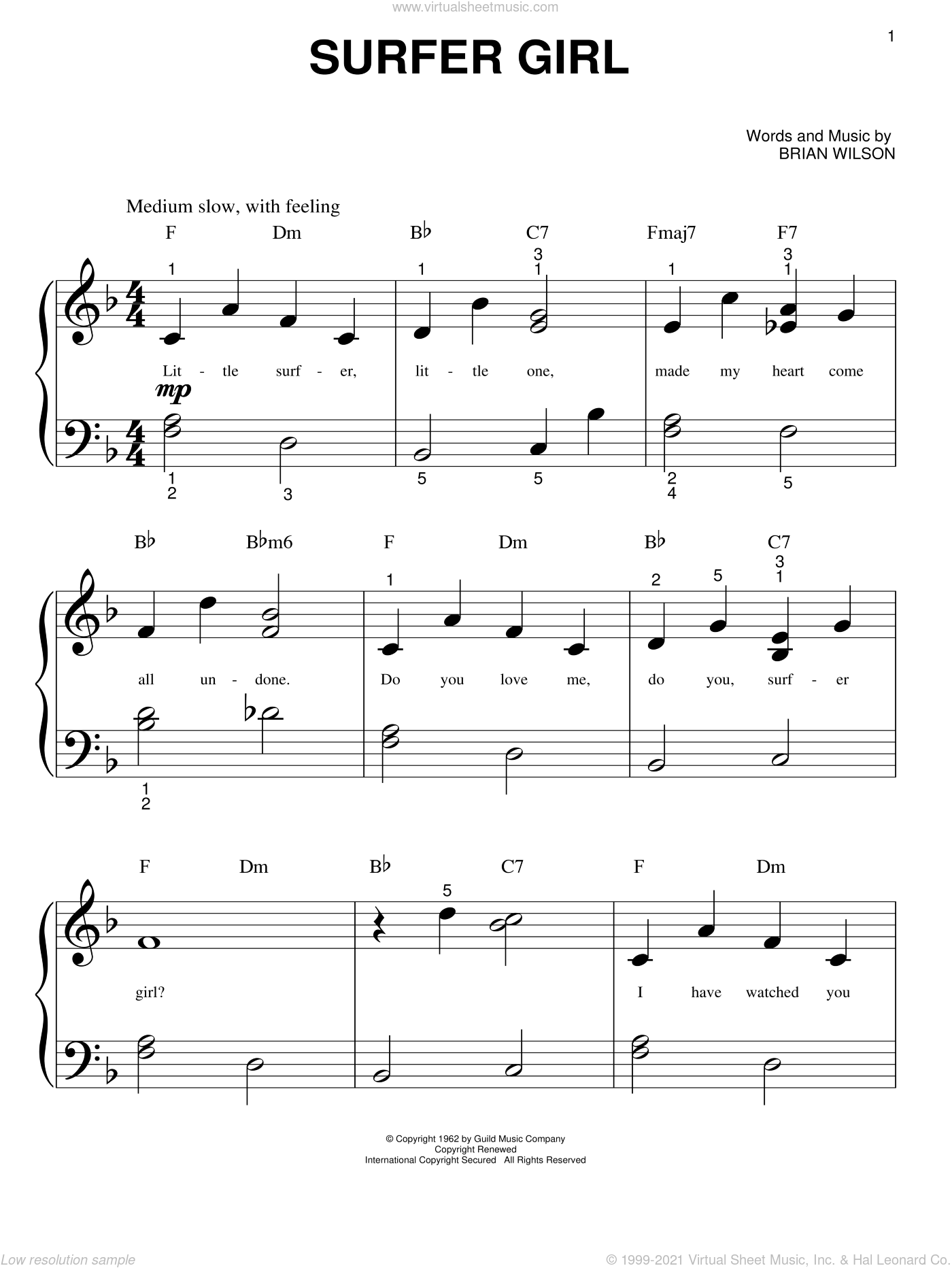 Surfer Girl sheet music for piano solo (big note book) by The Beach Boys and Brian Wilson, easy piano (big note book)