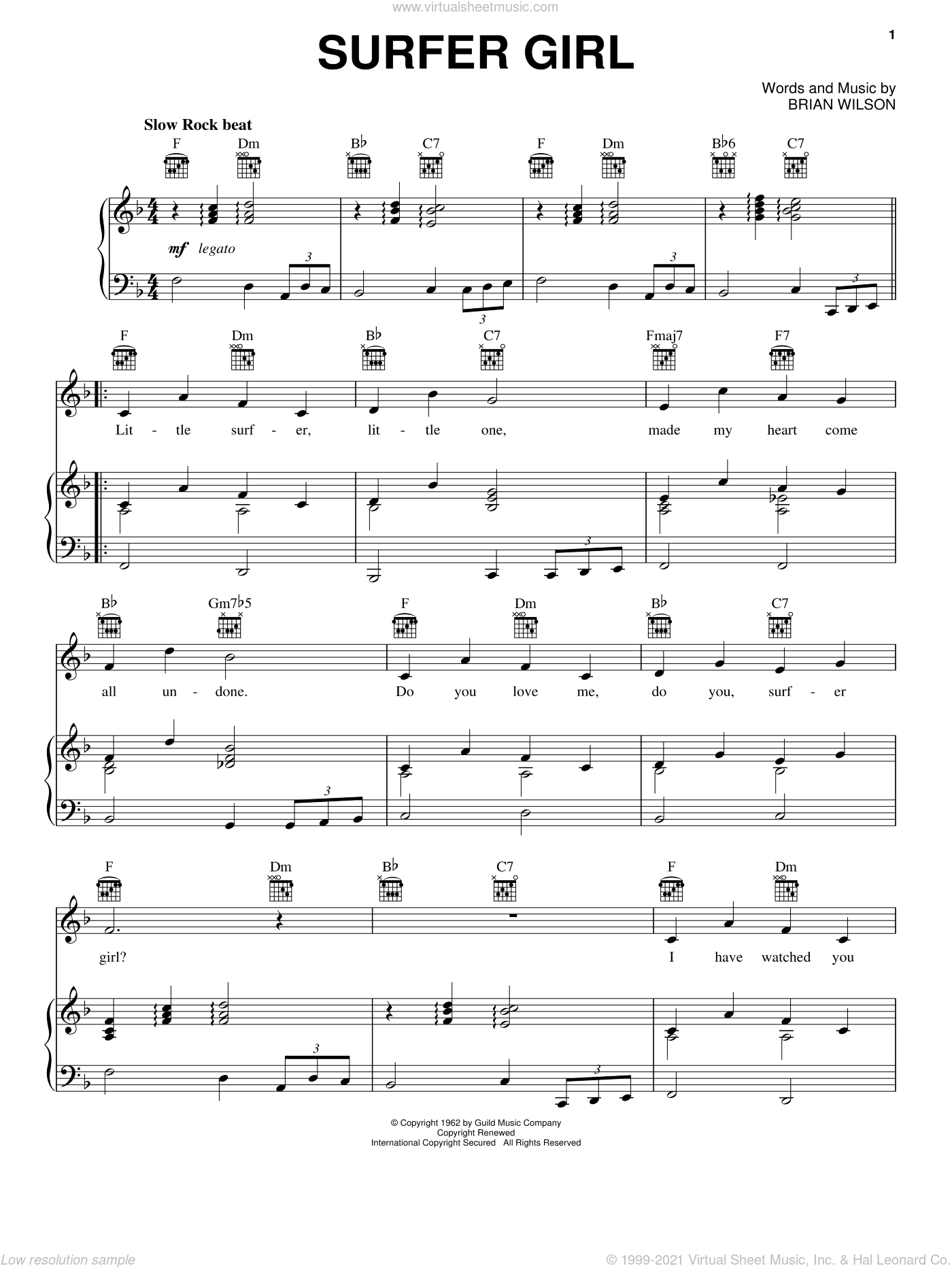 Surfer Girl sheet music for voice, piano or guitar by The Beach Boys and Brian Wilson, intermediate skill level