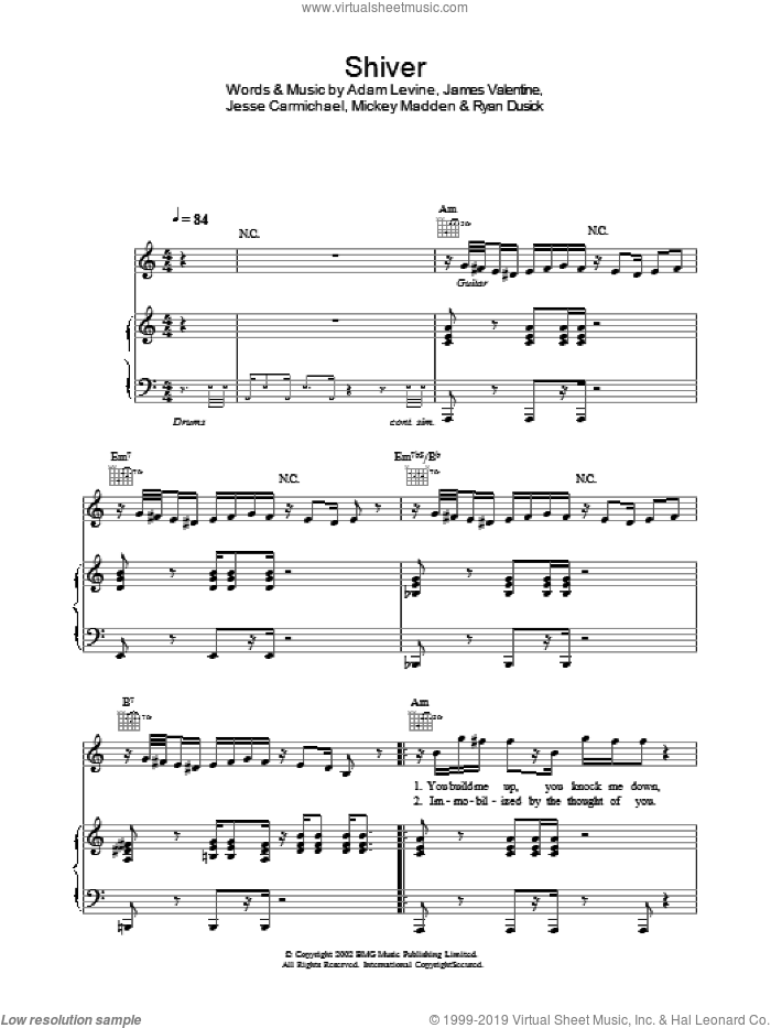 Shiver sheet music for voice, piano or guitar by Maroon 5, intermediate skill level