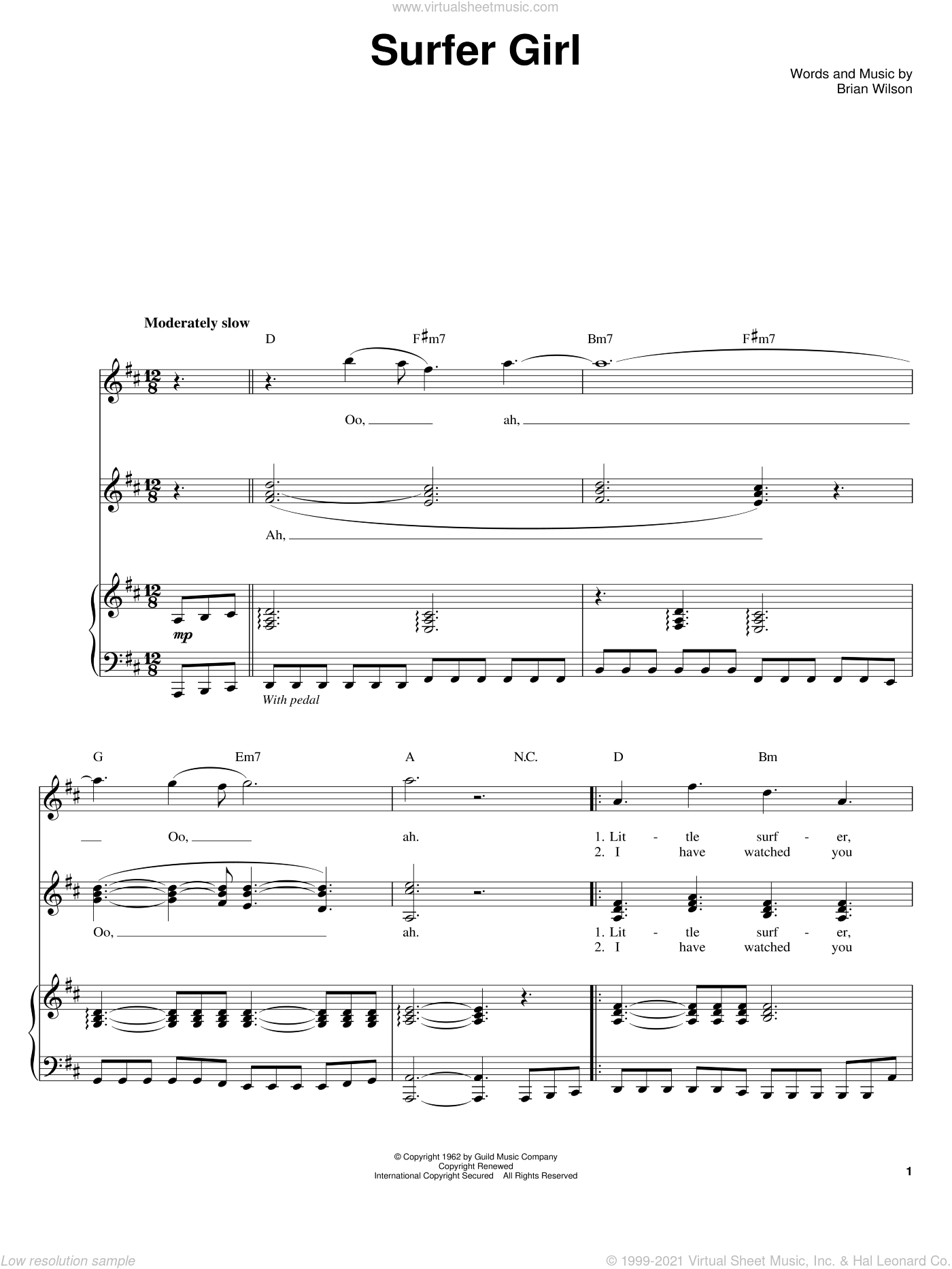 Surfer Girl sheet music for voice and piano by Brian Wilson and The Beach Boys. Score Image Preview.
