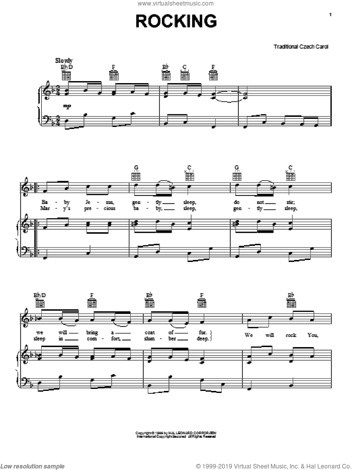 Rocking sheet music for voice, piano or guitar, intermediate skill level