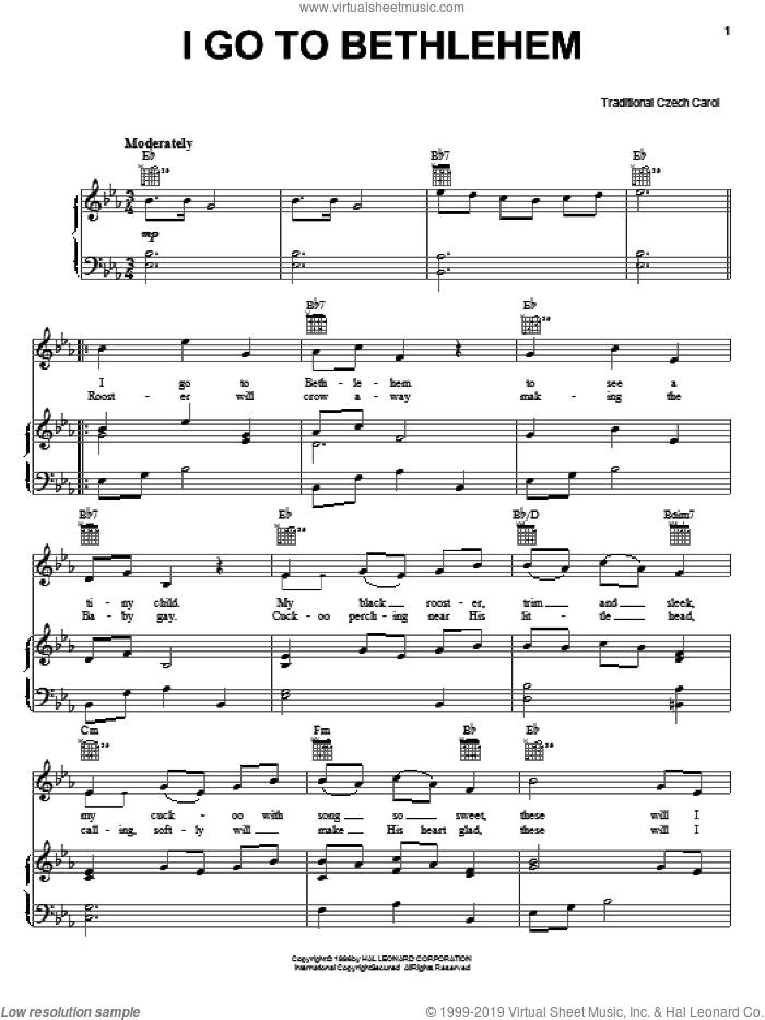 I Go To Bethlehem sheet music for voice, piano or guitar. Score Image Preview.