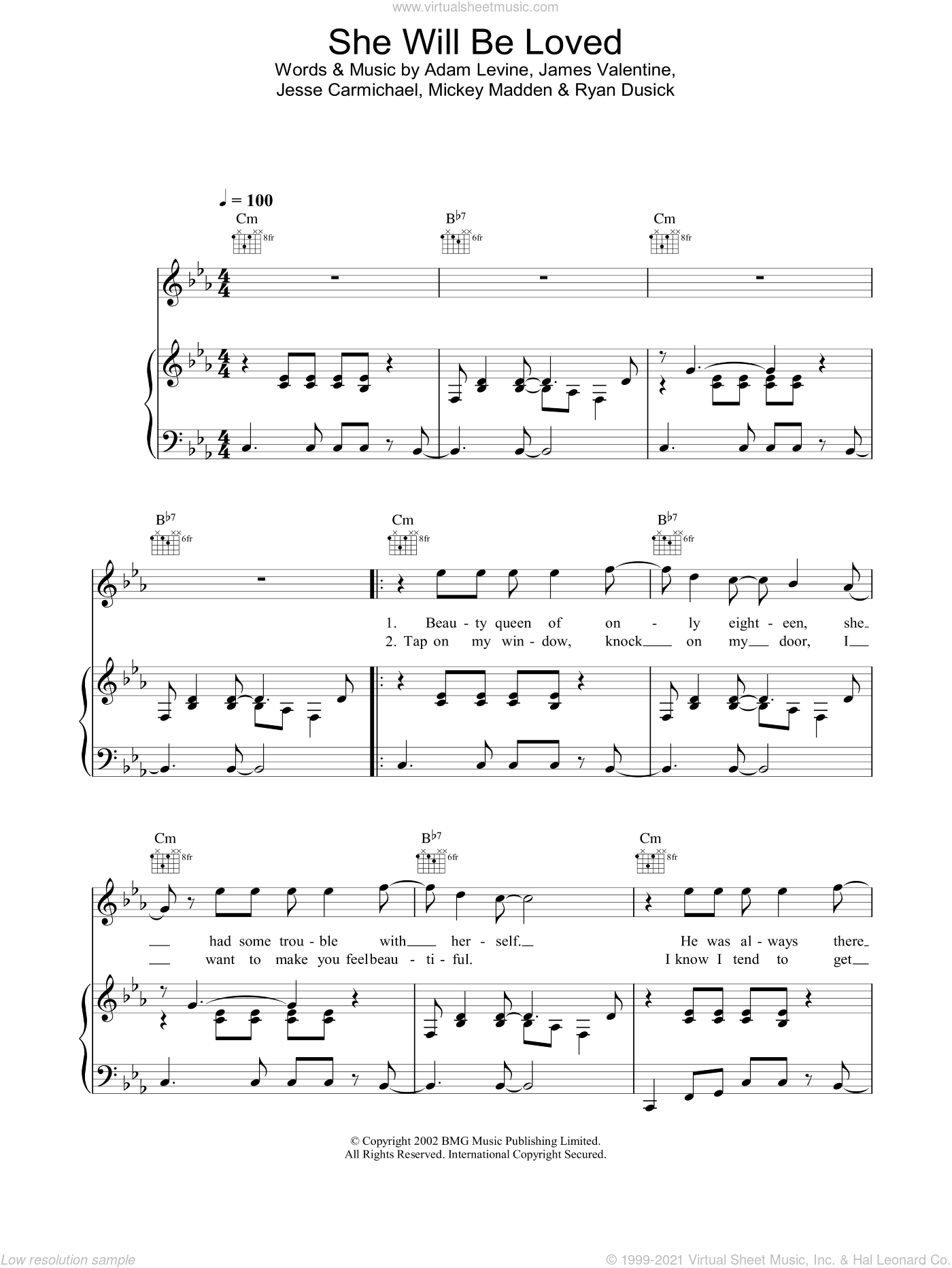 She Will Be Loved sheet music for voice, piano or guitar by Maroon 5. Score Image Preview.