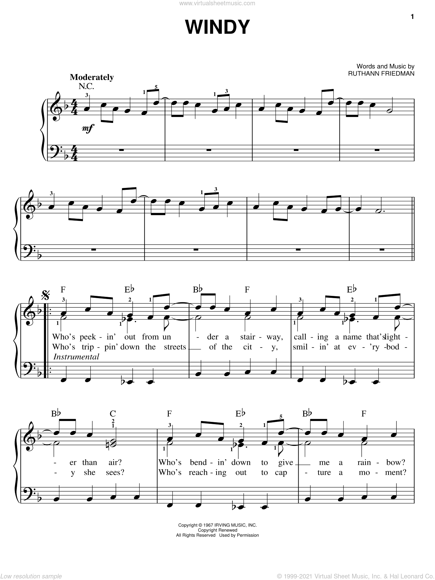 Windy sheet music for piano solo by The Association and Ruthann Friedman, easy skill level