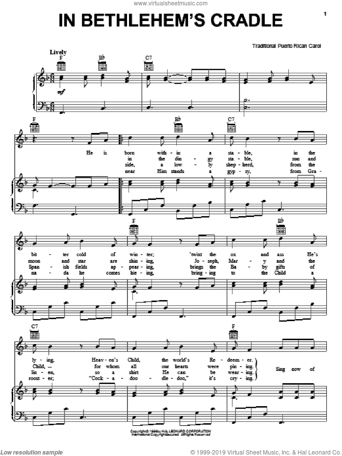In Bethlehem's Cradle sheet music for voice, piano or guitar. Score Image Preview.