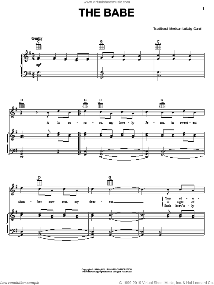 The Babe sheet music for voice, piano or guitar, intermediate. Score Image Preview.