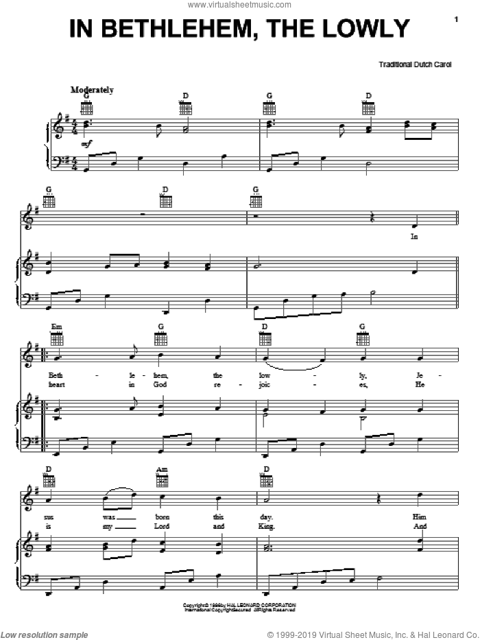 In Bethlehem, The Lowly sheet music for voice, piano or guitar, Christmas carol score, intermediate voice, piano or guitar. Score Image Preview.
