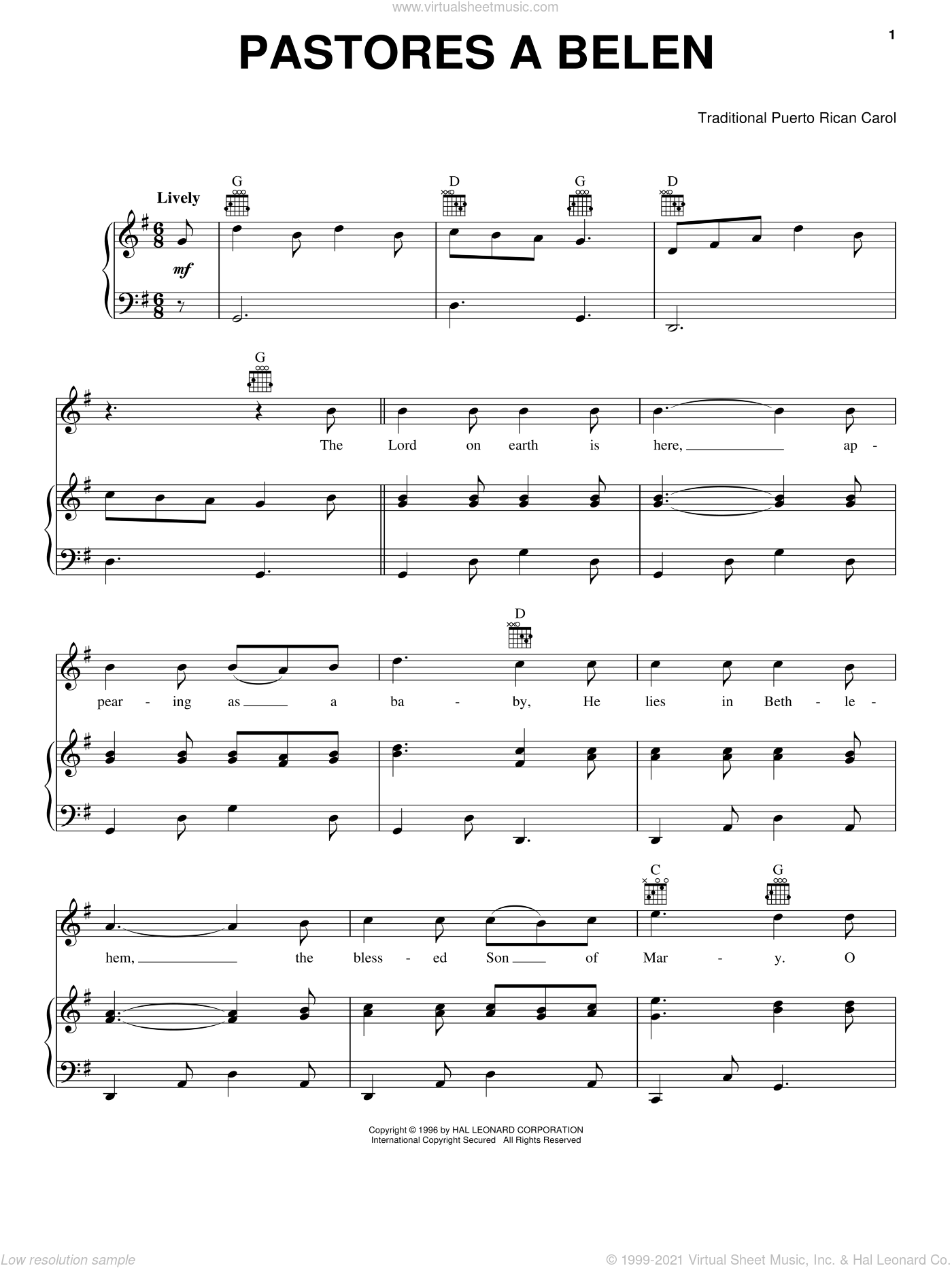 Pastores a Belen sheet music for voice, piano or guitar. Score Image Preview.