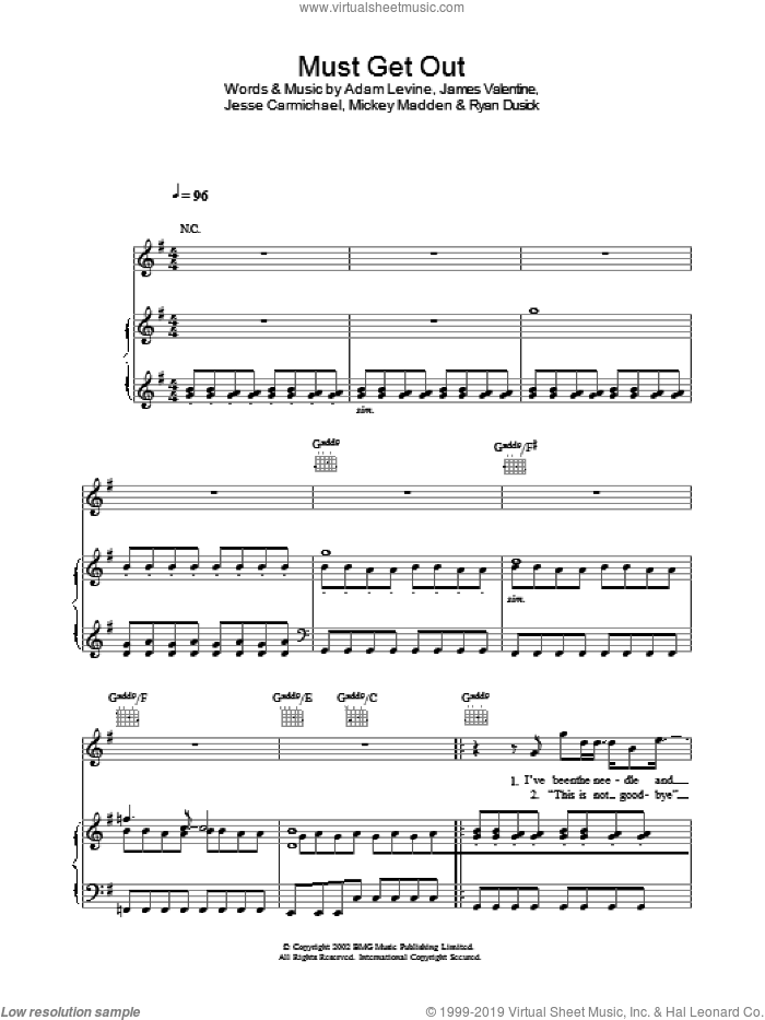 Must Get Out sheet music for voice, piano or guitar by Maroon 5. Score Image Preview.
