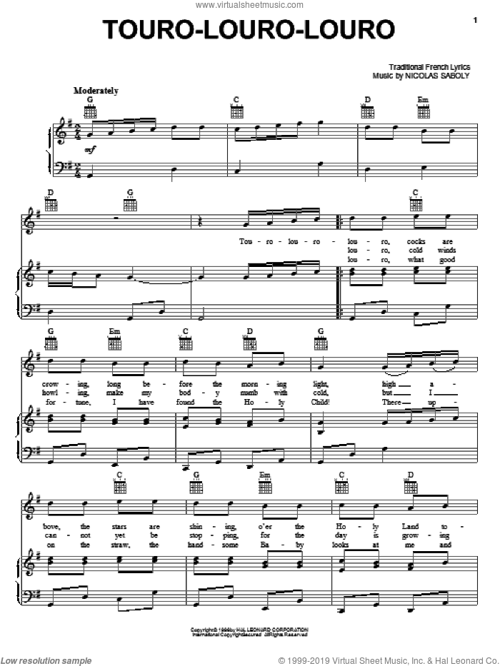 Touro-Louro-Louro sheet music for voice, piano or guitar by Nicolas Saboly and Miscellaneous, intermediate skill level