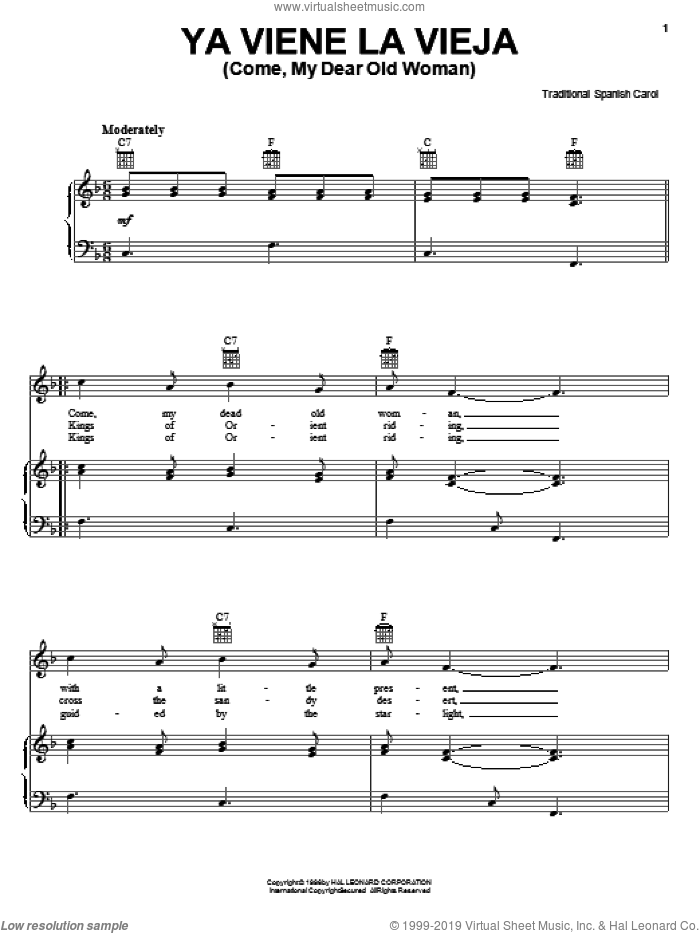 Ya Viene La Vieja sheet music for voice, piano or guitar. Score Image Preview.