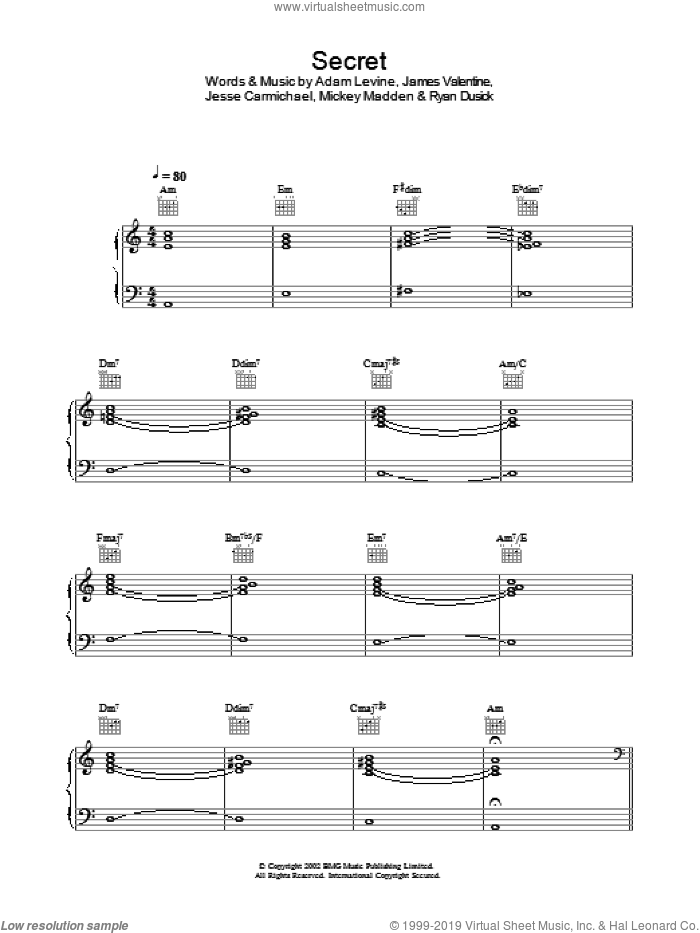 Secret sheet music for voice, piano or guitar by Maroon 5, intermediate. Score Image Preview.