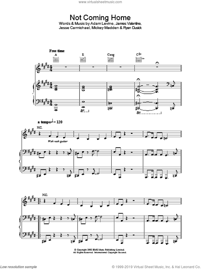 Not Coming Home sheet music for voice, piano or guitar by Maroon 5, intermediate. Score Image Preview.