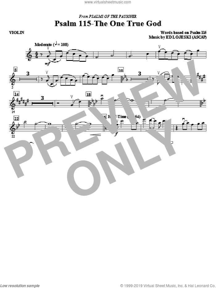 Psalm 115: The One True God (complete set of parts) sheet music for orchestra/band (Special) by Ed Lojeski and Miscellaneous, intermediate skill level