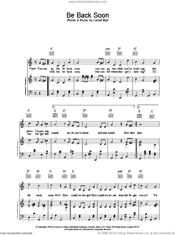 Be Back Soon sheet music for voice, piano or guitar by Lionel Bart, intermediate. Score Image Preview.