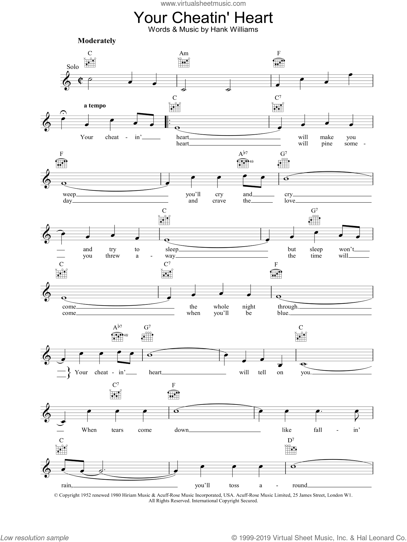 Your Cheatin' Heart sheet music for voice and other instruments (fake book) by Hank Williams, intermediate skill level