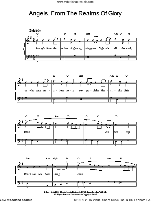 Angels From The Realms Of Glory sheet music for piano solo by James Montgomery and Miscellaneous. Score Image Preview.