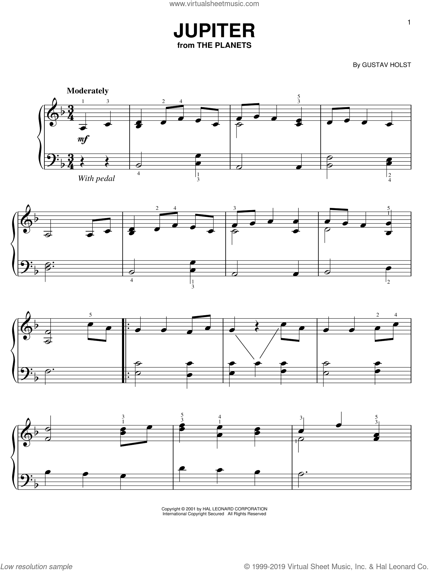 Jupiter sheet music for piano solo by Gustav Holst. Score Image Preview.