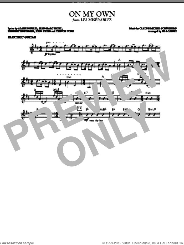 On My Own (from Les Miserables) (arr. Ed Lojeski) sheet music for orchestra/band (electric guitar) by Alain Boublil, Boublil and Schonberg, Claude-Michel Schonberg, Herbert Kretzmer, Jean-Marc Natel, John Caird, Trevor Nunn and Ed Lojeski, intermediate skill level