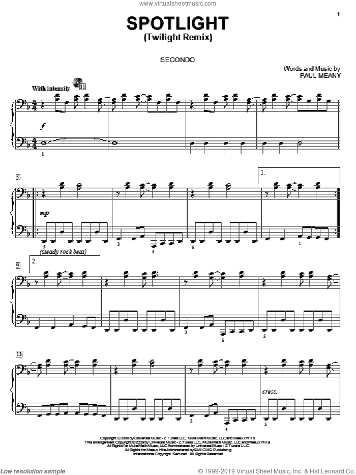 Spotlight (Twilight Remix) sheet music for piano four hands (duets) by Paul Meany