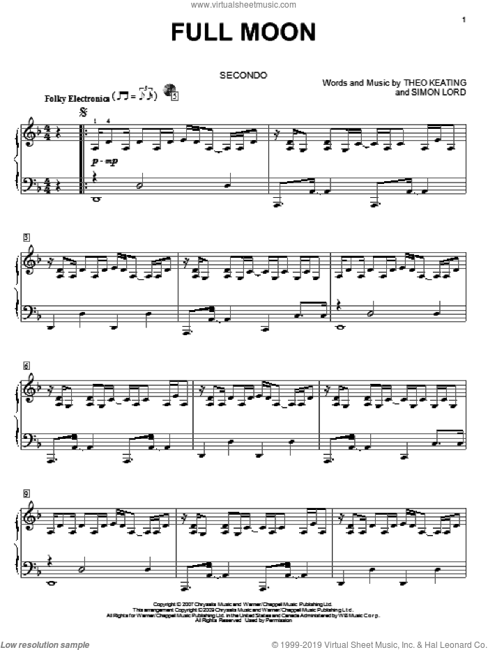 Full Moon sheet music for piano four hands (duets) by Theo Keating. Score Image Preview.