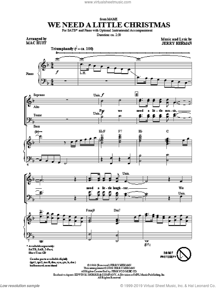 We Need A Little Christmas (from Mame) (arr. Mac Huff) sheet music for choir (SATB: soprano, alto, tenor, bass) by Jerry Herman and Mac Huff, intermediate skill level