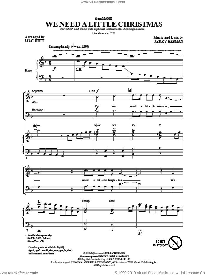 We Need A Little Christmas (from Mame) (arr. Mac Huff) sheet music for choir (SAB: soprano, alto, bass) by Jerry Herman and Mac Huff, intermediate skill level