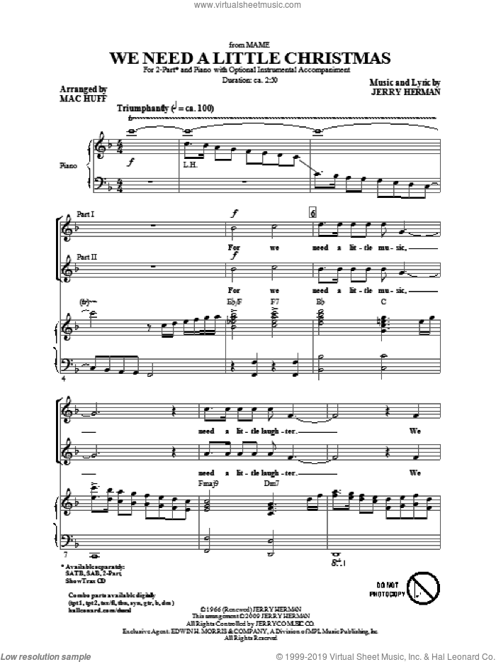 We Need A Little Christmas (from Mame) (arr. Mac Huff) sheet music for choir (2-Part) by Jerry Herman and Mac Huff, intermediate duet