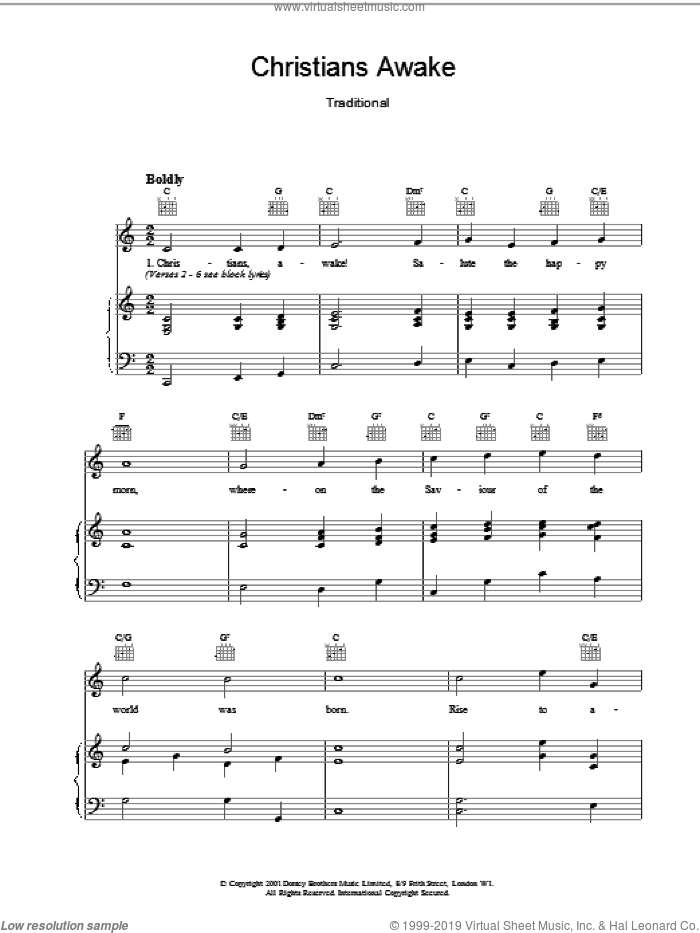 Christians Awake sheet music for voice, piano or guitar, intermediate. Score Image Preview.