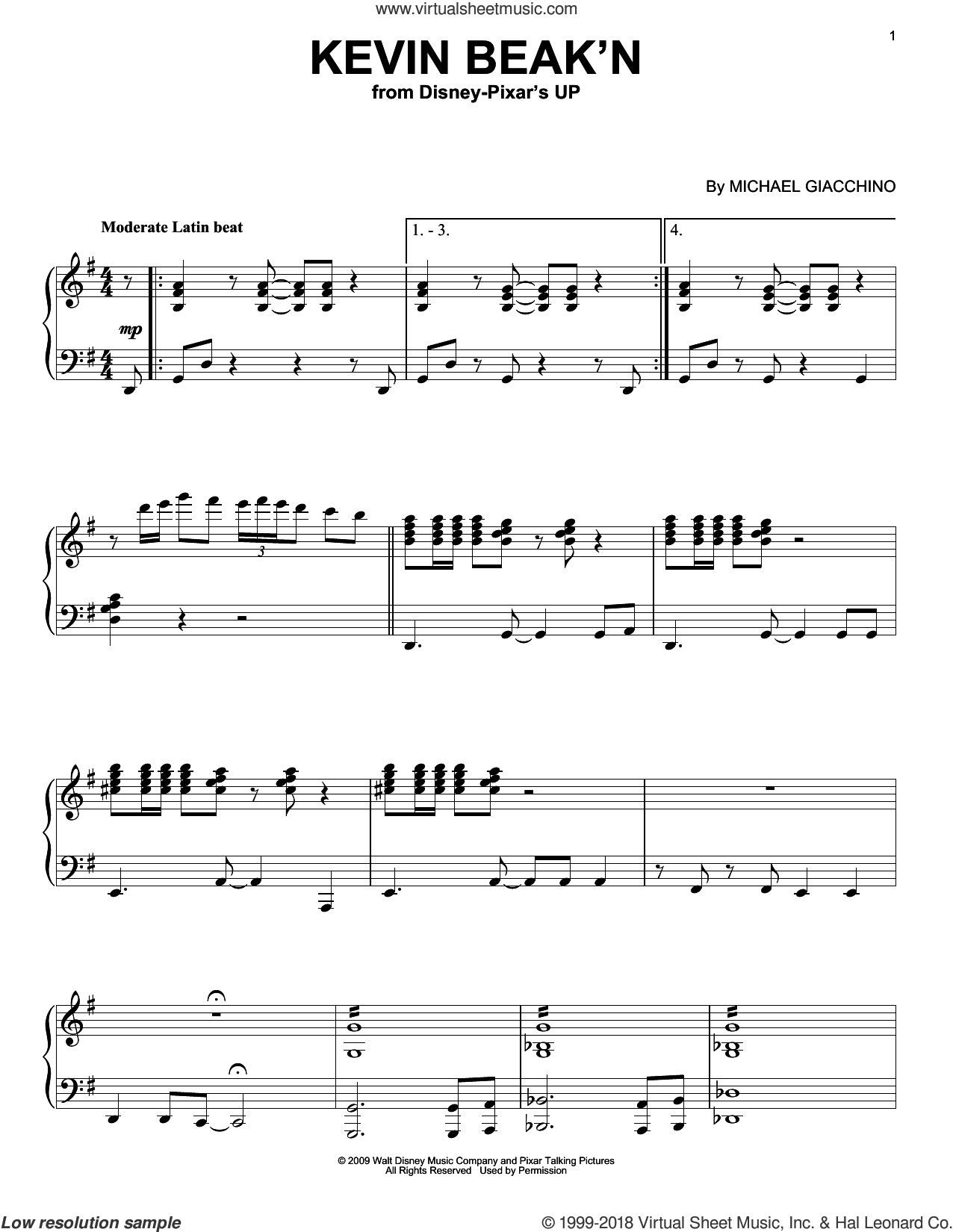 Kevin Beak'n sheet music for piano solo by Michael Giacchino and Up (Movie), intermediate skill level