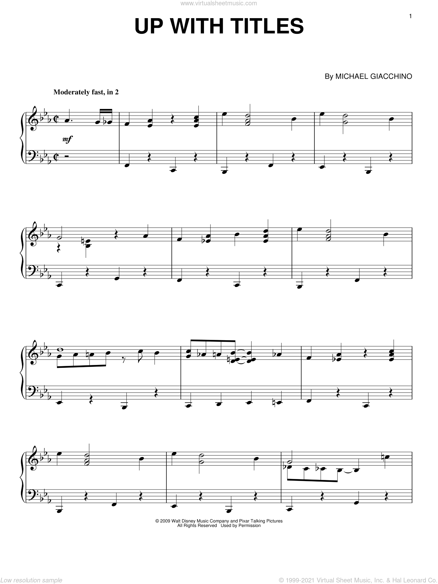 Up With Titles sheet music for piano solo by Michael Giacchino, intermediate piano. Score Image Preview.